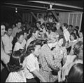 Poston, Arizona. Barn dance given in block 12. No music was available so evacuees of Japanese ance . . . - NARA - 538575.jpg
