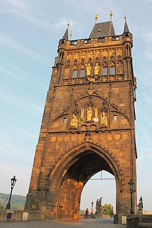 Bridge tower - The 1357 Old Town Tower on Charles Bridge in Prague.