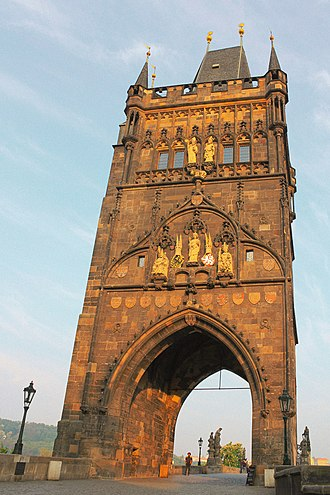 Bridge tower - The 1357 Old Town Tower on Charles Bridge in Prague.