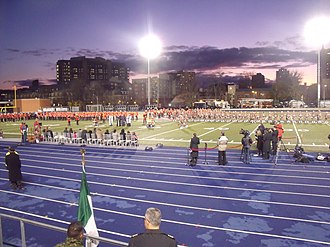 Varsity Stadium - Charles, Prince of Wales, presents new Colours to the Royal Regiment of Canada and Toronto Scottish Regiment at Varsity Stadium, November 5, 2009.