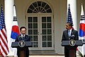 President Obama and President Lee giving joint press conference (4344853957).jpg