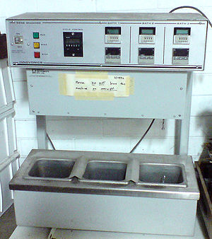 Polymerase chain reaction - An older model three-temperature thermal cycler for PCR