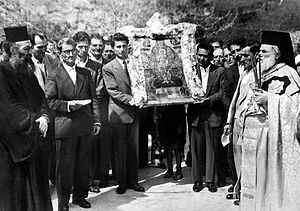 Life-giving Spring - Procession on the feast day of the Life-giving Spring, Bright Friday 1959, Arcadia, Greece.