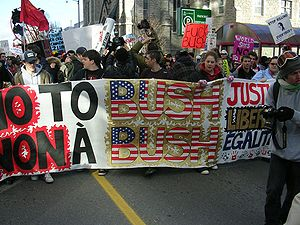Protests against U.S. President George W. Bush...