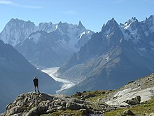 high mountains and glaciers of the Mont Blanc massif