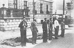 Bydgoszcz - Public execution of civilians randomly caught in a street roundup on 9 September 1939