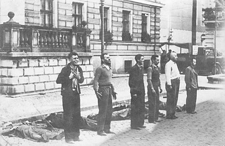 Public execution of Polish civilians randomly caught in a street roundup in German-occupied Bydgoszcz, September 1939 Public execution of Polish hostages in Bydgoszcz (1939).jpg