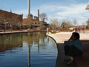 The river walk in downtown Pueblo, Colorado.