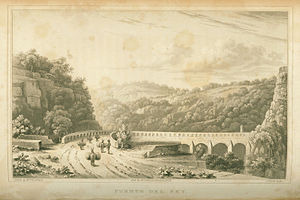 Henry George Ward - Puente del Rey, engraving from Mexico in 1827 (1828) by Henry George Ward, after Emily Elizabeth Ward.