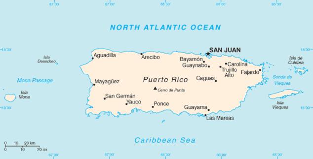 Puerto Rico-CIA WFB Map