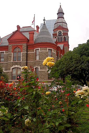 The Pulaski County Courthouse is located in Little Rock Pulaski County Courthouse, Little Rock, Arkansas (roses).jpg