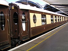 Brown-and-tan passenger car