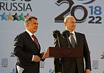 Putin and Minnihanov speak at a dedication ceremony for a football stadium in Kazan.jpeg