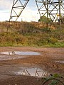 Pylon and puddles at Salmonpool Bridge - geograph.org.uk - 255228.jpg