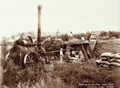 Queensland State Archives 2371 Threshing at Yangan with steam tractor 1899.png