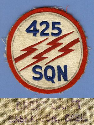 425 Tactical Fighter Squadron - A Cold war, early issue RCAF uniform patch for 425 Squadron manufactured by Crest Craft circa 1955