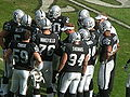 Raiders in huddle at Falcons at Raiders 11-2-08 1.JPG