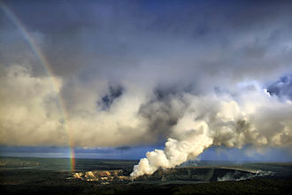 Kīlauea - Rainbow and volcanic ash with sulfur dioxide emissions from the Halema{{okina}}uma{{okina}}u Crater