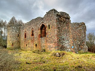 Rait Castle ruined hall-house castle near Inverness, Scotland
