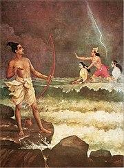 Raja Ravi Varma Painting - 'Rama Conquers Varuna'