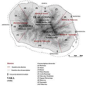 Rarotonga - Map of Rarotonga's districts