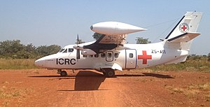 Transport in the Central African Republic - The majority of airfields in the Central African Republic have unpaved runways and are only used by chartered flights such as this one from the Red Cross.