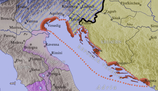 Territory of the Venetian Republic (in red) shortly after Otto II's reign. Republik Venedig.png