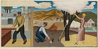 Ben Cunningham (artist) - Resources of the Soil - 1938 WPA Mural by Ben Cunningham 1938 (Ukiah, California Post Office)