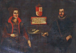 Manuel of Castile - Manuel of Castile and Beatrice of Savoy, in a 17th-century Portuguese painting series depicting the ancestors of the Manuel family (Ficalho Palace, Serpa, Portugal)