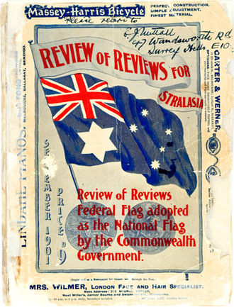 Flag of Australia - The edition of the Review of Reviews front cover signed by Egbert Nuttall, after the winning designers of the 1901 Federal Flag design competition were announced.