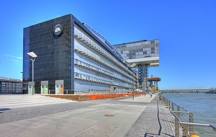 Modern office building at Rheinauhafen, EA Games Headquarters