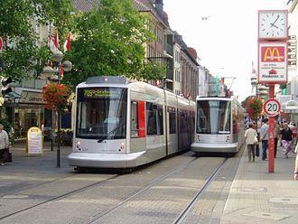Neuss - Rheinbahn tram in downtown Neuss.