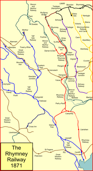 Rhymney Railway - System map of the Rhymney Railway (shown in red) in 1871