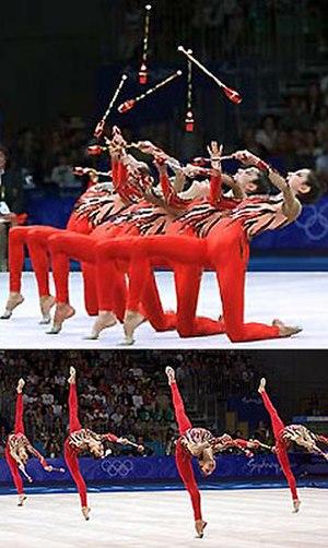 Rhythmic gymnastics - Group rhythmic gymnasts from Greece in Sydney 2000