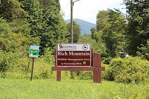 Wildlife Management Area - Sign to the Rich Mountain Wildlife Management Area in Georgia