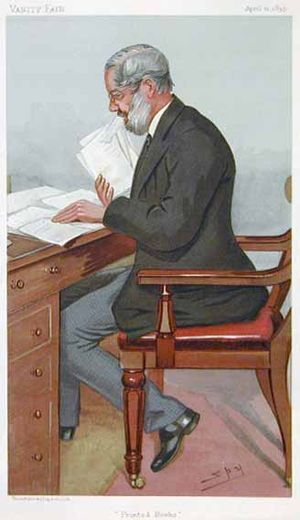 """Richard Garnett (writer) - """"Printed Books"""" Garnett as caricatured by Spy (Leslie Ward) in Vanity Fair, April 1895"""