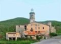 Ridaura, església de Santa Maria, torre, i cases veïnes.jpg