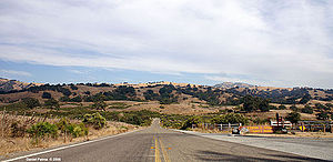 California State Route 130 - Route 130 at the foot of the Diablo Range Mountains looking towards Mount Hamilton and the Lick Observatory.