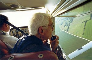 Roger Agache - Roger Agache flying a Cessna aircraft, shooting archaeological sites, Photo: Girard ABBEVILLE