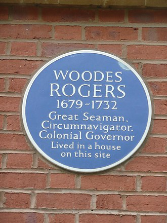 Woodes Rogers - Plaque on the site of Rogers' Bristol residence, 35 Queen Square