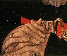 Rogier van der Weyden, Ritratto di giovane donna, dettaglio delle mani con anelli