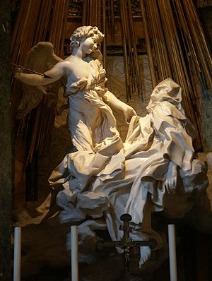 Ecstasy (emotion) - The Ecstasy of St. Theresa by Gianlorenzo Bernini (1652). Left transept of Santa Maria della Vittoria (17th century) in Rome.