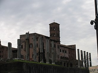 Santa Francesca Romana, Rome - Rear area of the church, showing the ruins of the Temple of Venus and Rome.