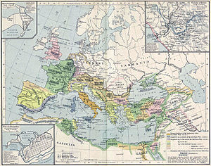 Historical atlas - Map of expansion of the Roman Empire, published in the William R. Shepherd Historical Atlas in 1924