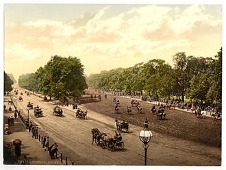 Rotten Row - Rotten Row and the South Carriage Drive c.1890-1900, photomechanical print