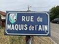 Rue du Maquis de l'Ain (Saint-Maurice-de-Beynost), panneau de rue.jpg