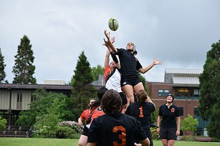 A rugby lineout being conducted. A group from either team lifts a player to fight and catch the ball for their team. (OSUWRC 2014) Rugby Lineout.jpg