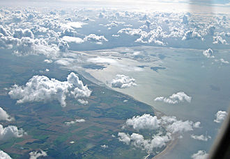 The Wash - The Wash looking WSW from over Hunstanton. The Great Ouse and Welland are visible running south.