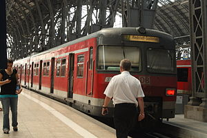 S7 (Rhine-Main S-Bahn) - S7 is the only S-Bahn service in Rhein-Main that starts always at the above ground platform hall of Frankfurt central station