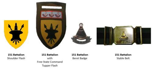 SADF 151 SA Battalion complete insignia